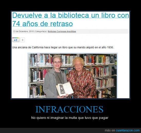 años,biblioteca,libro,multa,retraso