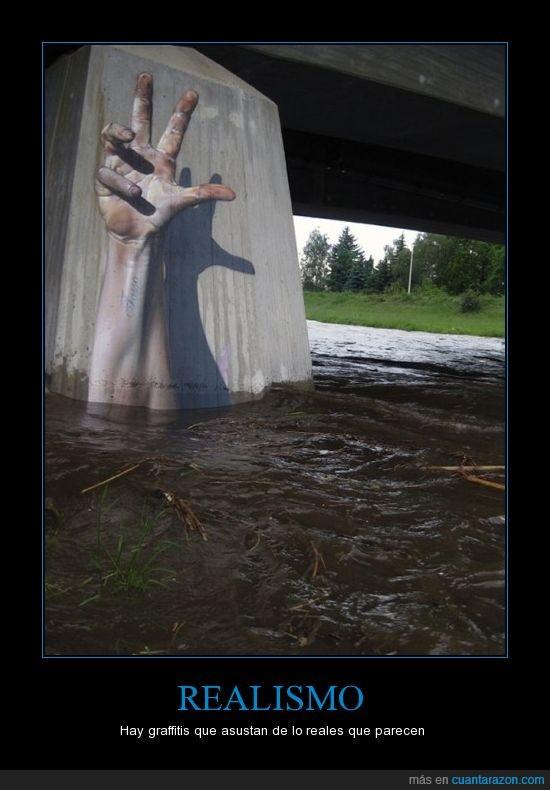graffiti,mano,puente