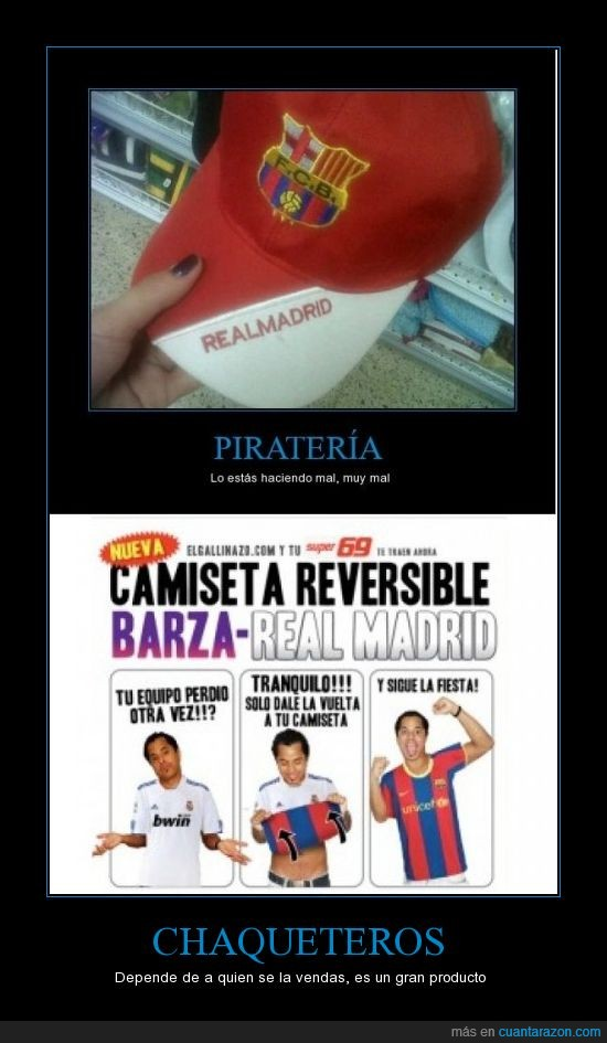 barcelona,camiseta,depende,pirateria,real madrid,reversible