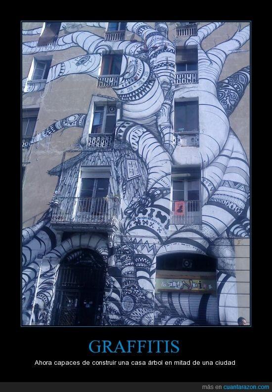 árbol,arte,barcelona,casa,graffiti