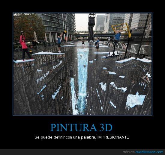 3d,arte,cascada,ciudad,hielo,pintura,suelo