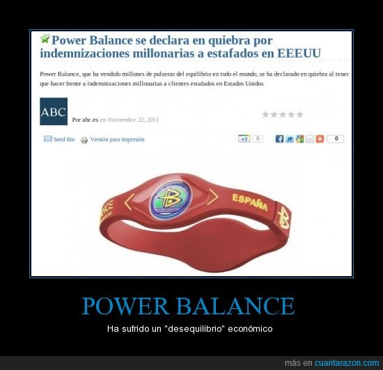 power balance,pulsera,quiebra,ruina