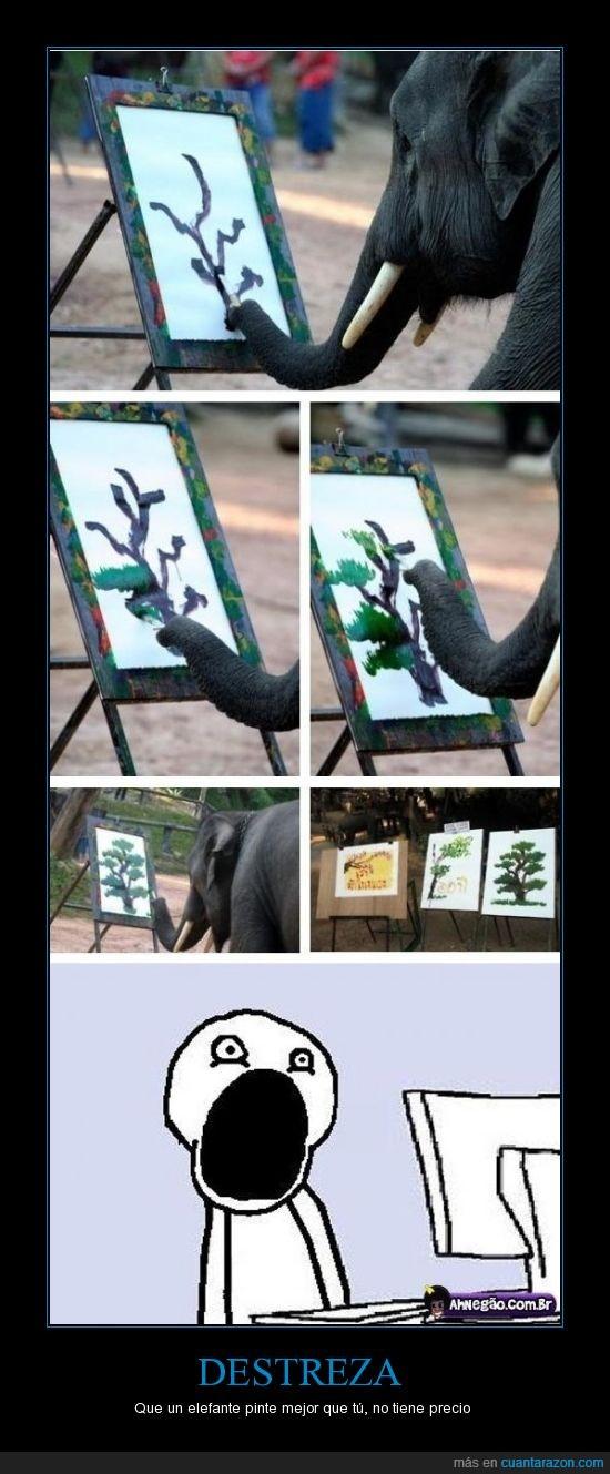 cuadro,elefante,pintura,trompa