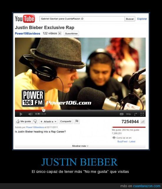 Bieber,Justin,me gusta,no,visitas,youtube