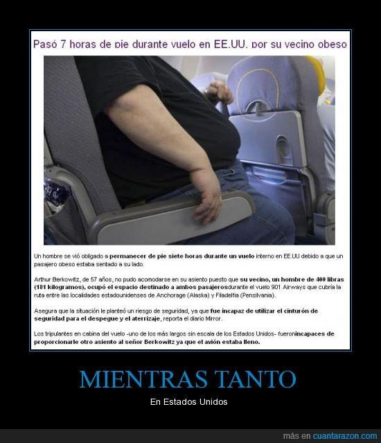 avión,barriga,estados unidos,EUA,obeso,parado,vecino,vuelo