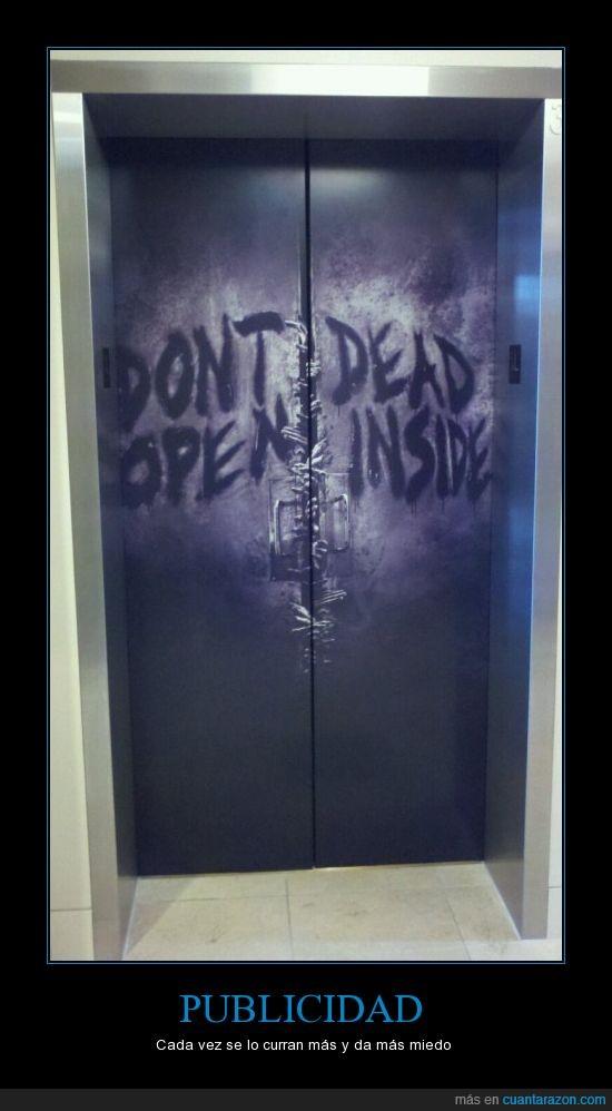 elevador,publicidad,the walking dead