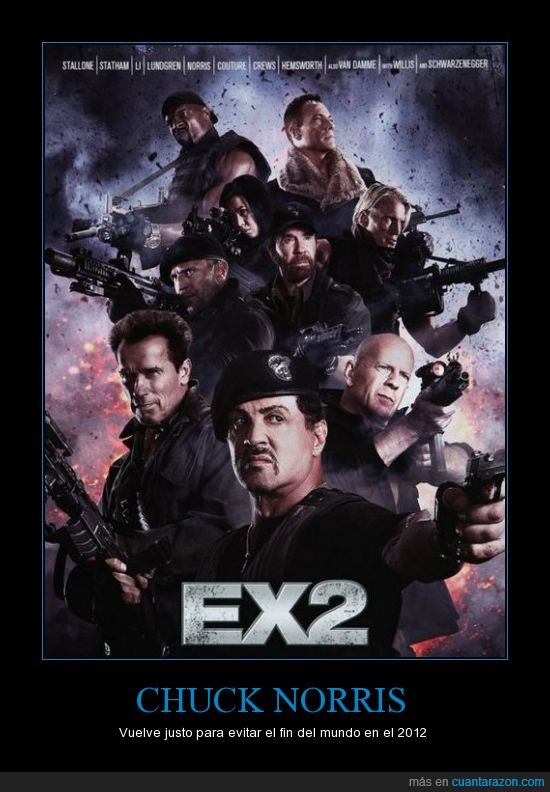 2012,Chuck Norris,Cine,Mercenarios,patadas giratorias