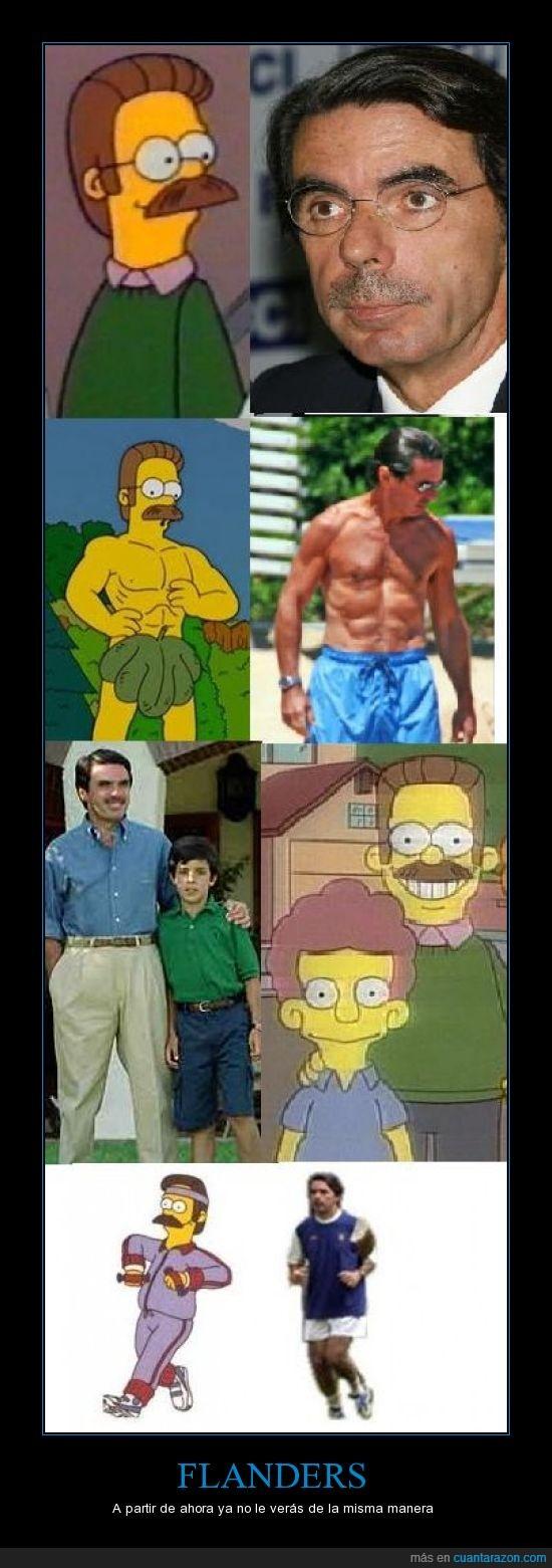 Aznar,Flanders,parecidos razonables,simpsons
