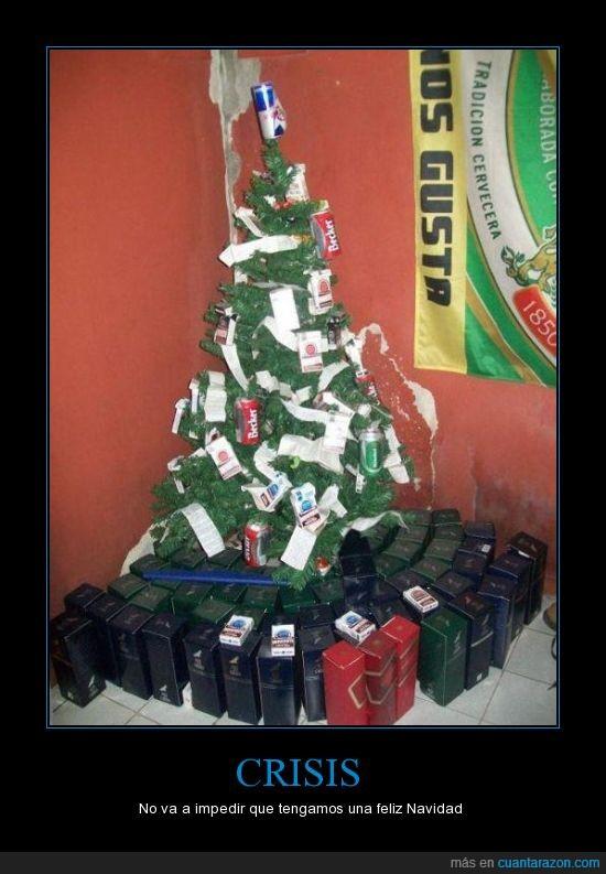 árbol,cervezas,crisis,latas,navidad,regalos
