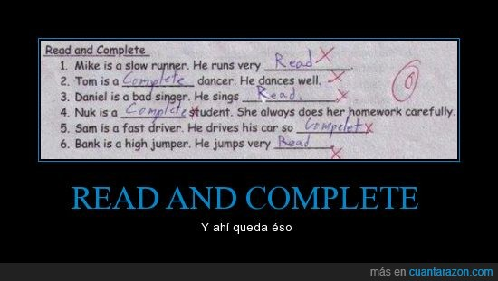 cero,examen,inglés,read and complete