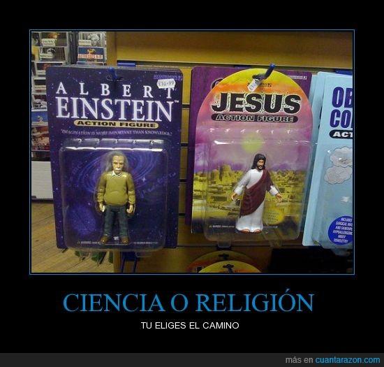 ciencia,einstein,jesus,muñecos,religion