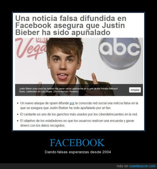 facebook,justin bieber,noticia falsa