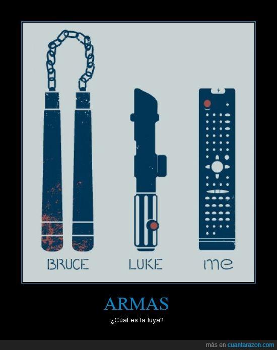 armas,bruce lee,espada laser,luke skywalker,mando