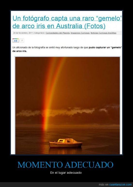 arco iris,barco,gemelo,momento
