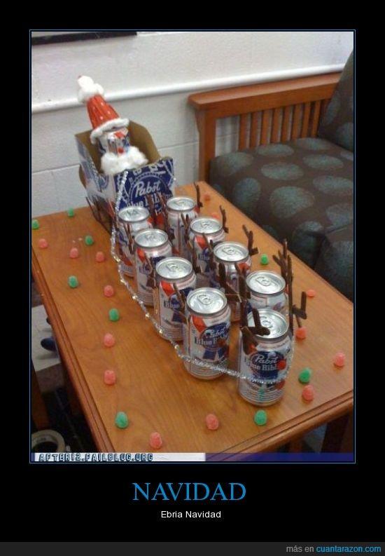 cervezas,latas,navidad,papa noel,renos