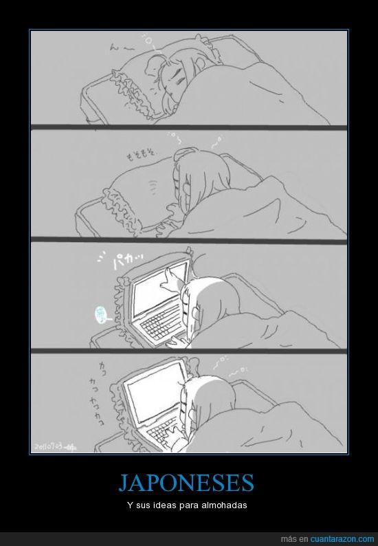 almohadas,cama,japoneses,ordenador