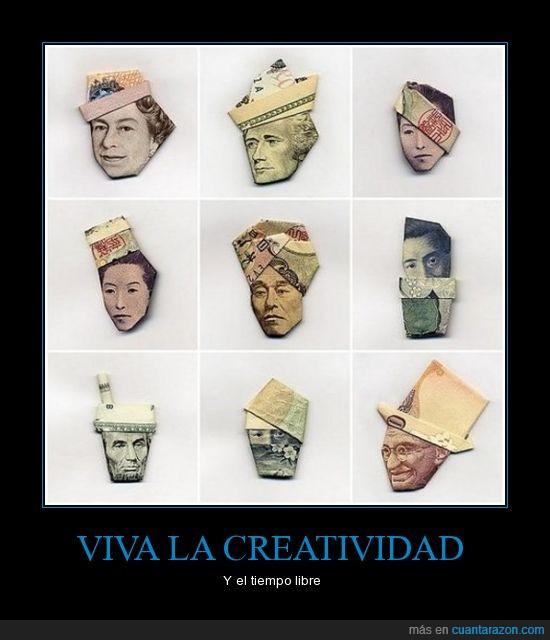 billetes,caras,creatividad,doblar,papiroflexia,tiempo libre