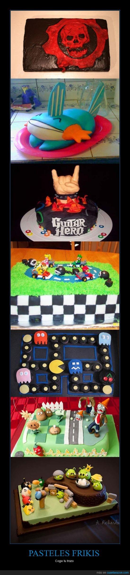 Angry Birds,friki,gears of wars,guitar hero,mario,pacman,pasteles,pokemon,videojuegos,zombies vs plantas