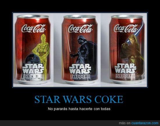 coca cola,latas,stars wars