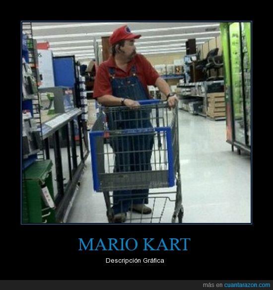 mario kart,supermercado