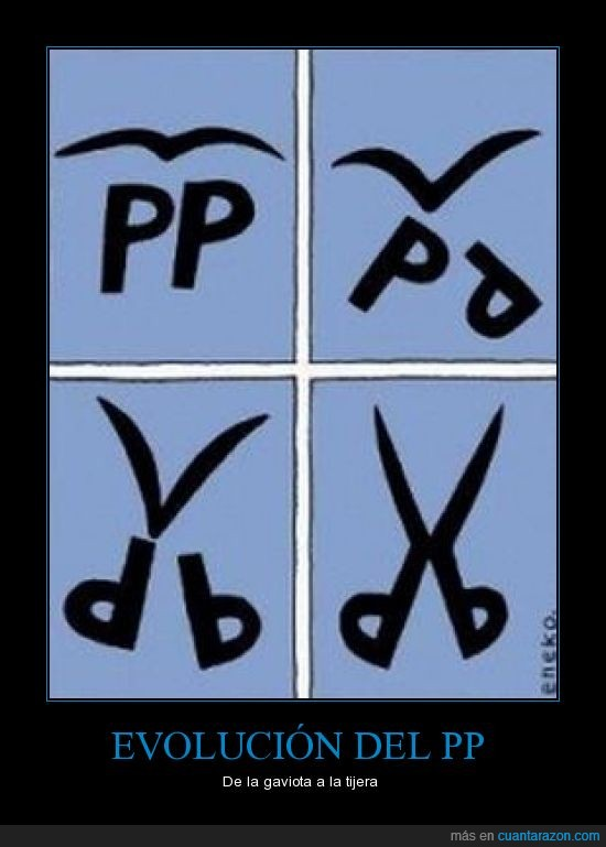 gaviota,PP,Rajoy,recortes,Tijeras