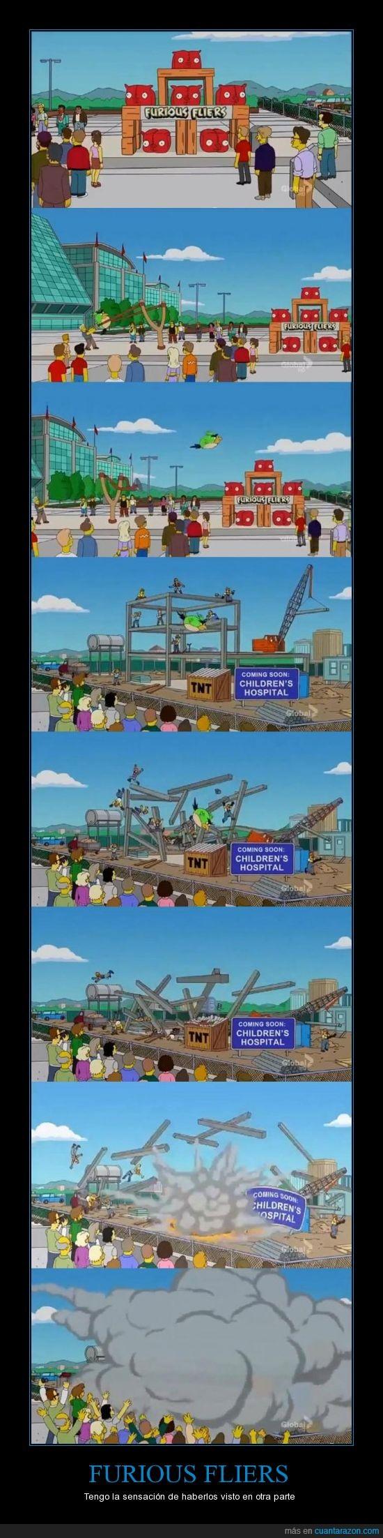 angry birds,Hospital de Niños  Destruido,juego,parodia,parody,simpsons