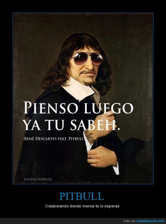 descartes,filosofía,pienso,pitbull,reggaeton