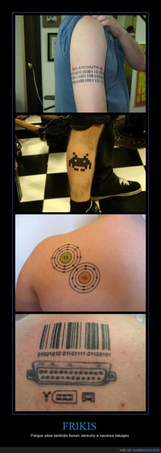 binario,cloro,entradas,frikis,programación,sodio,space invaders,tatuajes