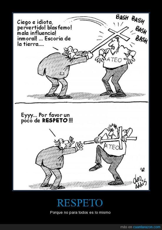 ateo,comic,creyente,cruz,fe,hipocresía,respeto,romper