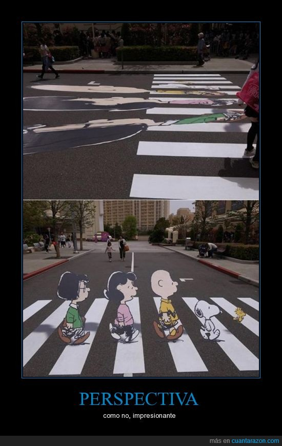 abbey road,charlie brown,perspectiva,snoopy