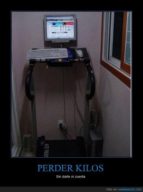 adelgazar,cinta,correr,deporte,dieta,ejercicio,kilos,ordenador,pantalla,perder,ratón,teclado