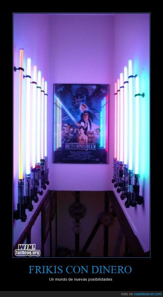 dinero,Frikis,Jedi,laser,leia,Luke,sables,star wars