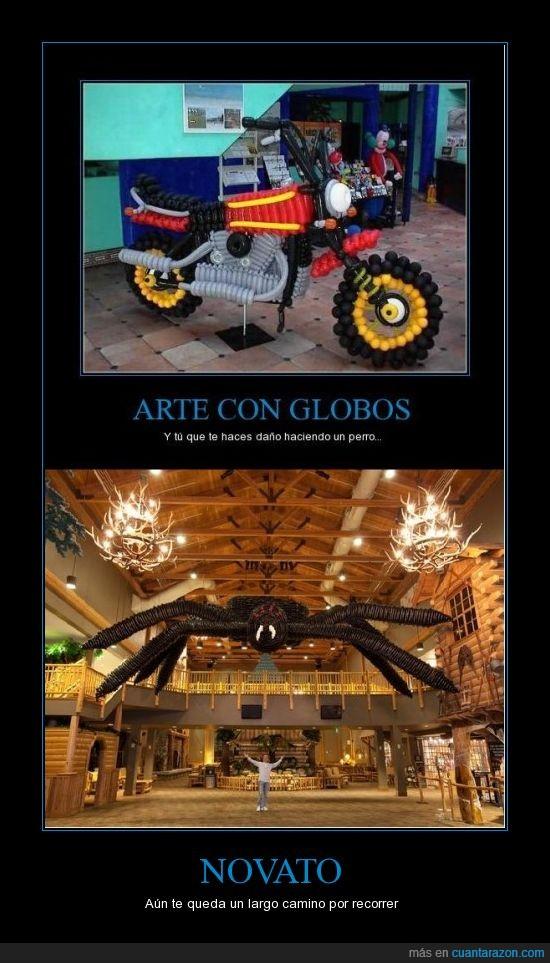 Adam  Lee ganó el récord Guiness de la escultura más grande creada con globos por una sola persona.,Adam Lee,Araña,Cuanta Razón,En serio,Globos,Moto,Record Guiness