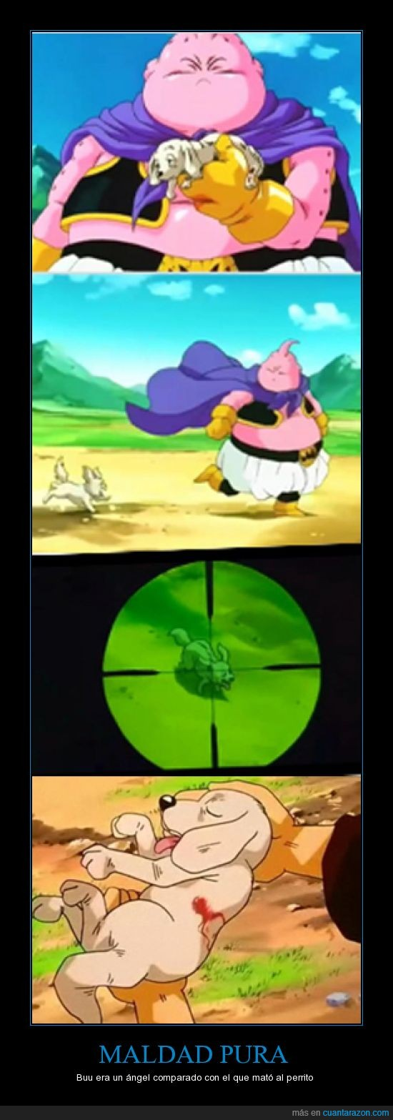 Buu,coma,disparo,Dragon Ball,maldad,matar,perro