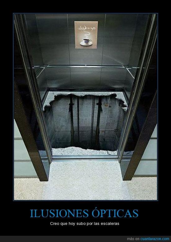 ascensor,caer,cambiar,ilusión óptica,pegatina,puertas