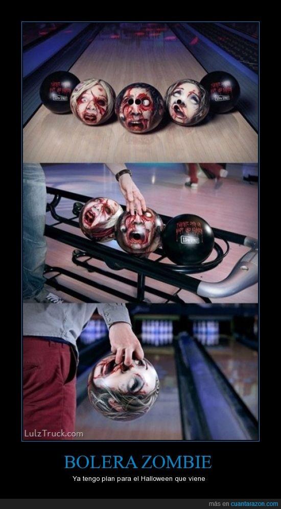 agujeros,bolas,bolera,bolos,cabeza,ojos,zombie