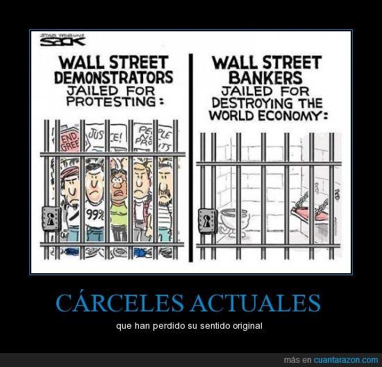 carcel,dinero,indignados,protesta,wall street