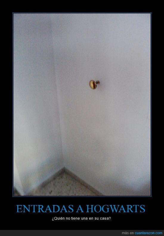 entrada,harry,hogwarts,pared,potter,puerta