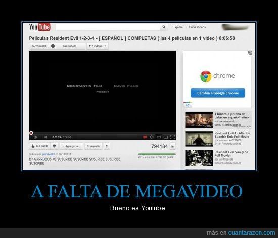 Megavideo,pelicula,Resident Evil,Youtube