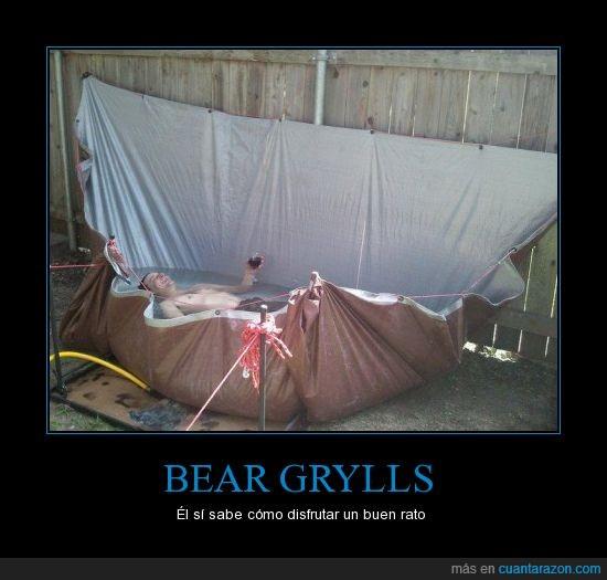 bear grylls,cortina,disfrutar,piscina,sol