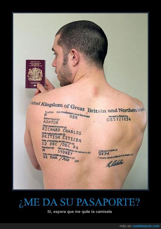 espalda,locura,pasaporte,tatuaje,uk