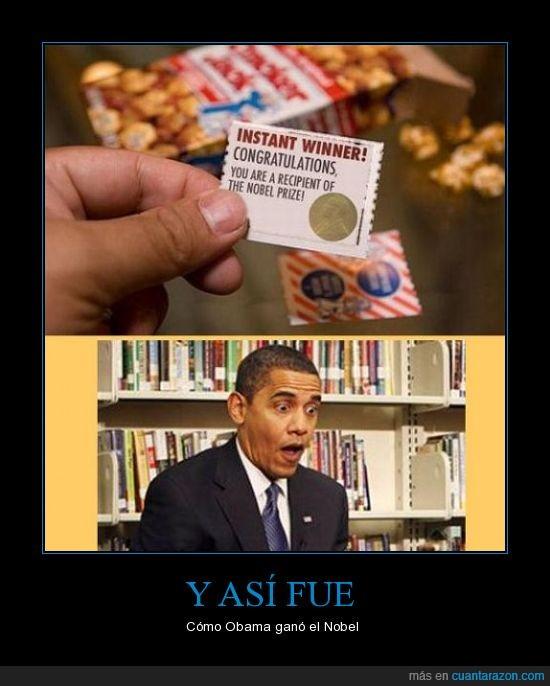 bolsa,Nobel,obama,patatas,regalo,sorprendido