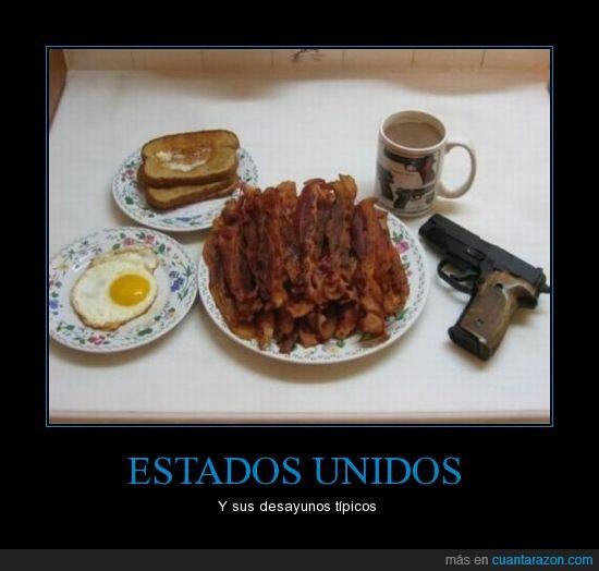 bacon,café,huevo,pistola,tostaditas