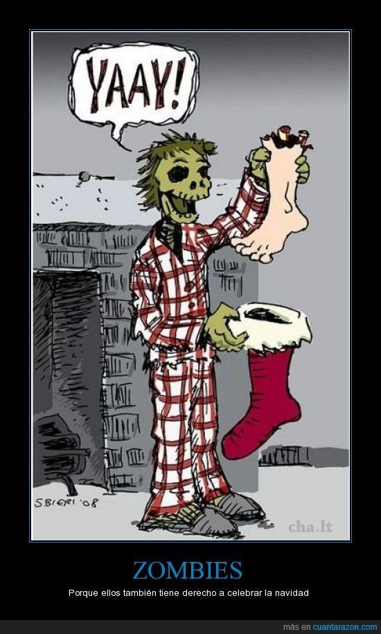 calcetín,comer,fiestas,muerto,navidad,pie,pijama,regalos,sangre,Zombie