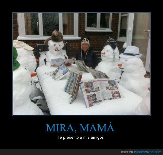 frío,leer,mesa,muñecos de nieve,nieve,periódico,revistas