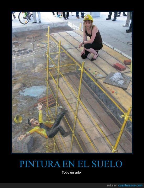 andamio,arte,calle,dibujo,hombre cae,pintura,suelo