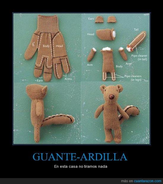 ardilla,guante,habilidad,manualidad,muñeco,peluche