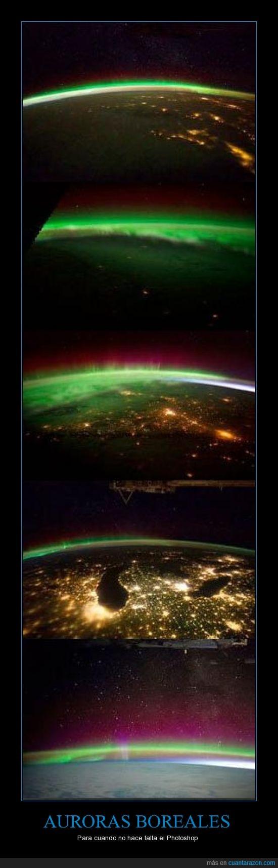 auroras boreal,espacio,fotografias,hermoso,NASA,photoshop