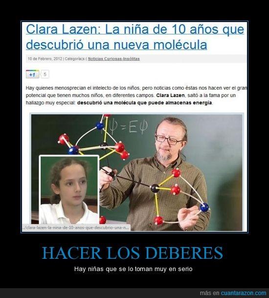ciencia,deberes,descubrir,molécula,niña