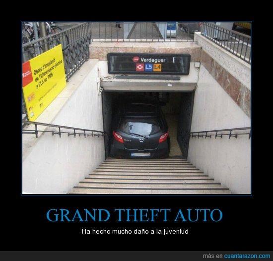 barcelona,coche,estación,fail,grand theft auto,juventud,metro,verdaguer